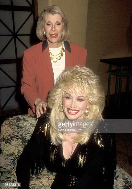 Comedienne Joan Riversa nd Musician Dolly Parton attend a Taping of 'The Joan Rivers Show' on March 1 1993 at CBS Broadcast Center in New York City...