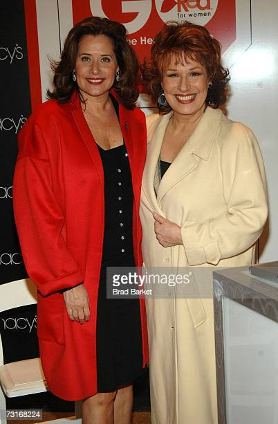 Comedienne Joy Behar and actress Lorraine Bracco pose for a photo as Behar hosts the American Heart Association's Go Red for Women movement to...
