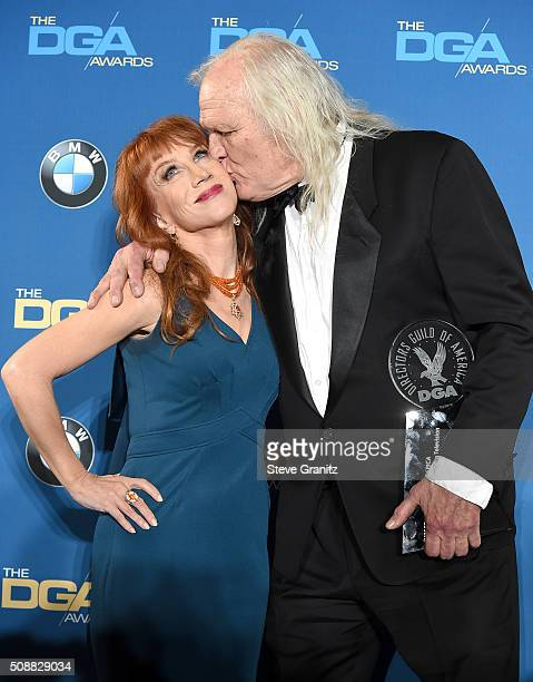 Comedienne Kathy Griffin and director Joe Pytka, recipient of the Lifetime Achievement in Television Direction Award, pose in the press room during...