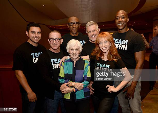 Comedienne Kathy Griffin and her mother Maggie Griffin pose with fans after Kathy Griffin performed at the Dolby Theatre on May 4 2013 in Los Angeles...