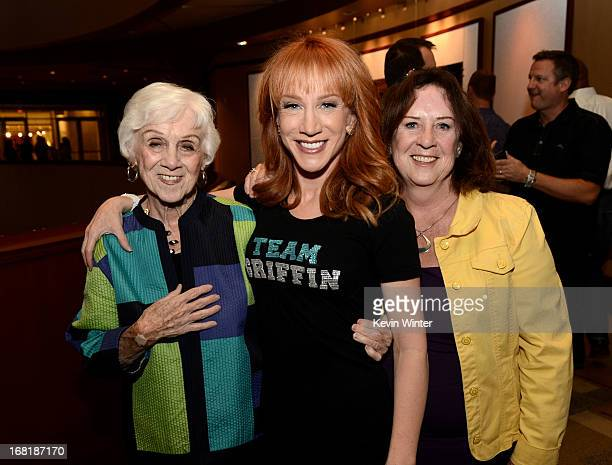 Comedienne Kathy Griffin her mother Maggie Griffin and her sister Joyce pose backstage after Kathy Griffin performed at the Dolby Theatre on May 4...