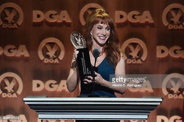 Comedienne Kathy Griffin speaks onstage at the 68th Annual Directors Guild Of America Awards at the Hyatt Regency Century Plaza on February 6 2016 in...