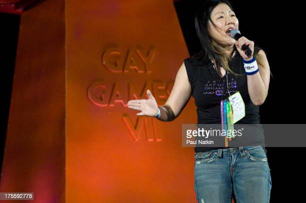 Comedienne Margaret Cho at the opening of the Seventh Gay Games, held at Soldier Field, Chicago, Illinois, July 15, 2006.