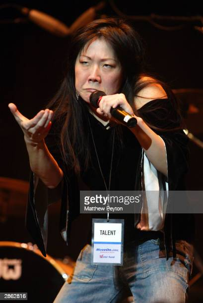 Comedienne Margaret Cho performs at 'Bush In 30 Seconds Live!' on January 12, 2004 at the Hammerstein Ballroom, in New York City. The show, sponsored...