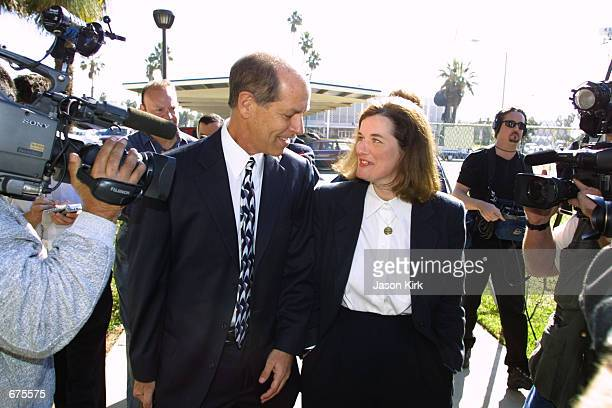 Comedienne Paula Poundstone arrives with her lawyer Steven Cron at the Santa Monica Superior Court December 5, 2001 in Santa Monica, CA. Judge...