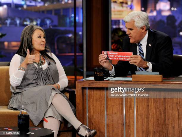Comedienne Roseanne Barr announces she is a candidate for president on The Tonight Show with Jay Leno at the NBC Studios on August 4 2011 in Burbank...