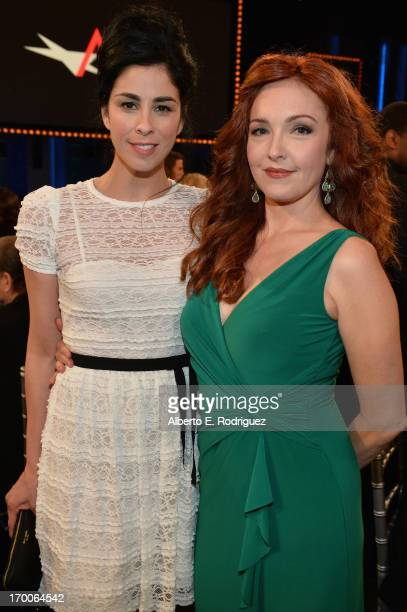 Comedienne Sarah Silverman and actress Amy Yasbeck attend the 41st AFI Life Achievement Award Honoring Mel Brooks at Dolby Theatre on June 6 2013 in...
