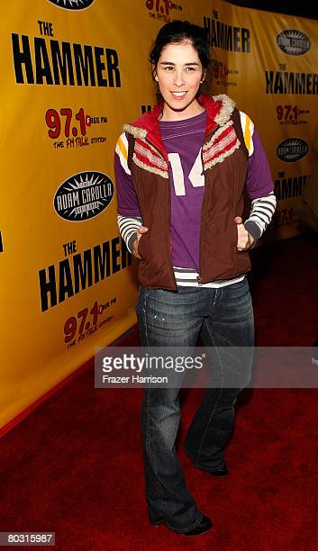 "Comedienne Sarah Silverman arrives at the premiere of International Film Circuit's ""The Hammer"" on March 19, 2008 at the Archlight Theatres,..."