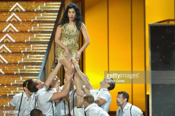 Comedienne Sarah Silverman performs onstage during the 65th Annual Primetime Emmy Awards held at Nokia Theatre LA Live on September 22 2013 in Los...