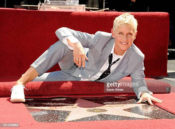 Comedienne/talk show host Ellen DeGeneres is honored with a star on the Hollywood Walk of Fame on September 4 2012 in Los Angeles California