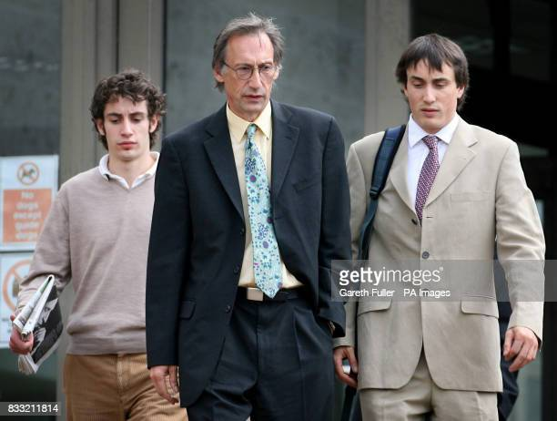 Comedy actor and writer Chris Langham outside Maidstone Crown Court in Kent accompanied by his sons Dafydd JonesDavies Siencyn Langham
