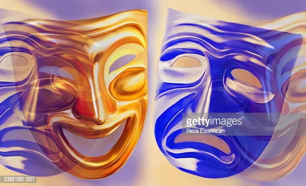'comedy and tragedy' masks (digital composite) - 悲劇の面 ストックフォトと画像