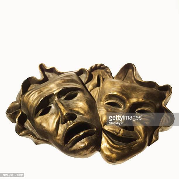 comedy and tragedy theatre masks - 悲劇の面 ストックフォトと画像