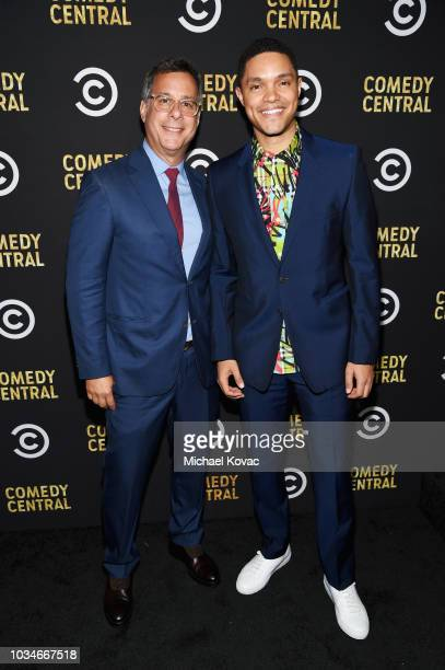 Comedy Central President Kent Alterman and Trevor Noah attend Comedy Central's Emmys Party at The Highlight Room at the Dream Hotel on September 16...