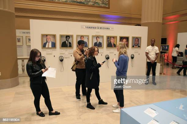 Comedy Central's 'The Daily Show previews a popup library exhibiting President Trump's tweets at Union Station on October 19 2017 in Chicago Illinois