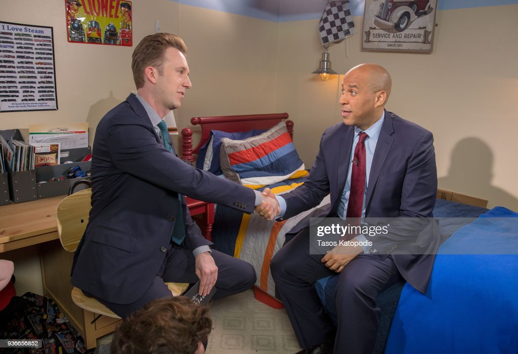 "Comedy Central's The Opposition w/ Jordan Klepper tapes a special episode in Rockville, MD titled ""The Opposition Chaperones Democracy: Kids Just Wanna Take Guns"" with guest Sen. Cory Booker"