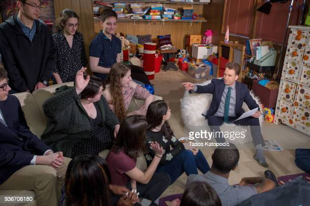 Comedy Central's The Opposition w/ Jordan Klepper tapes a special episode titled 'The Opposition Chaperones Democracy Kids Just Wanna Take Guns' with...