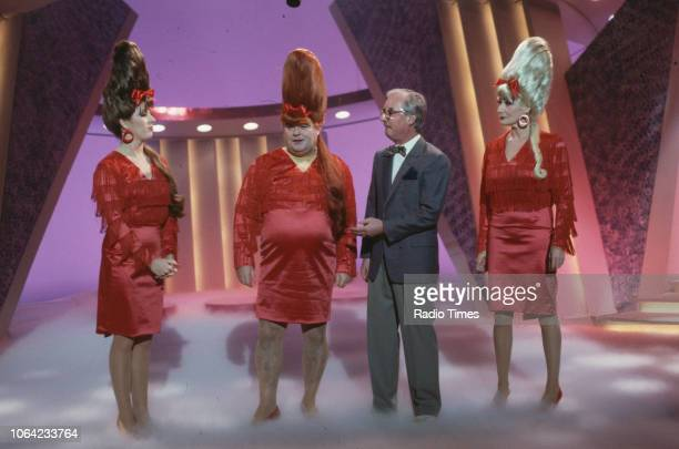 Comedy double act Eddie Large and Syd Little in a musical sketch with comedienne and singer Faith Brown for the BBC Television variety show 'The...