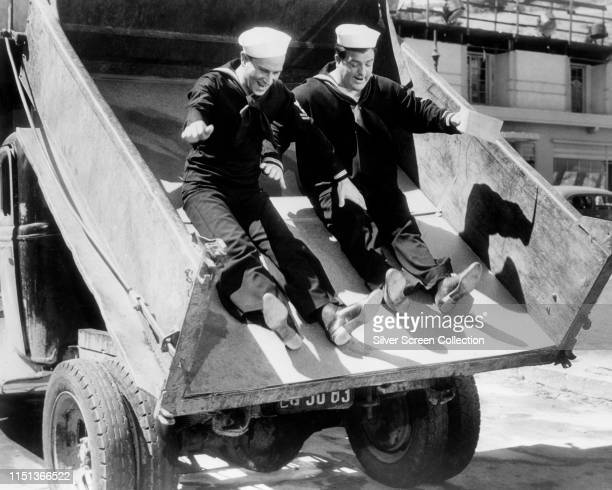 Comedy duo Bud Abbott and Lou Costello in a scene from the film 'In The Navy' 1941