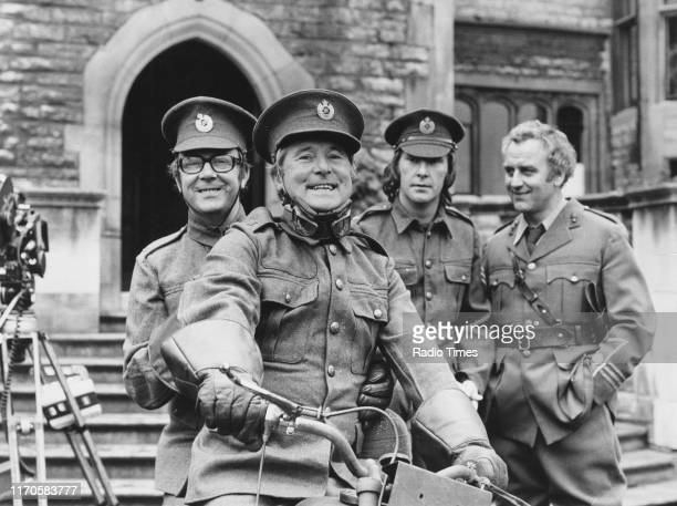 Comedy duo Eric Morecambe and Ernie Wise with actors Dennis Waterman and John Thaw in a sketch for the BBC television Christmas special of 'The...