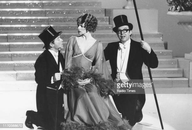 Comedy duo Eric Morecambe and Ernie Wise with actress Glenda Jackson in a sketch for the Christmas special of the BBC television series 'The...