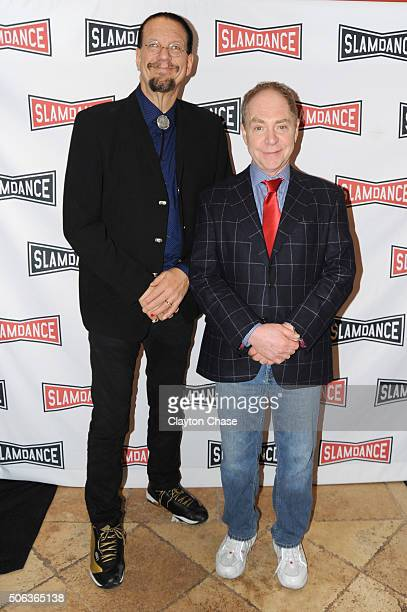 Comedy duo Penn and Teller attend the Slamdance Film Festival World Premiere Of Director's Cut Photo Call at Treasure Mountain Inn on January 22 2016...