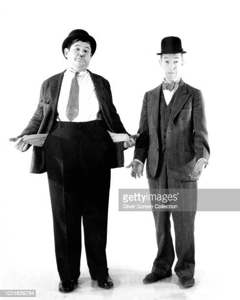 Comedy duo Stan Laurel and Oliver Hardy are broke as usual circa 1930