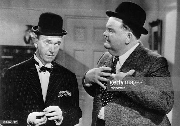 Comedy duo Stan Laurel and Oliver Hardy in a scene from their film The Bullfighter in 1945