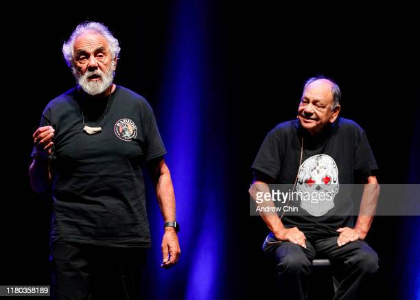 Comedy duo Tommy Chong and Richard Cheech Marin speak on stage during Cheech Chong 'O Cannabis Tour' at Abbotsford Centre on October 10 2019 in...