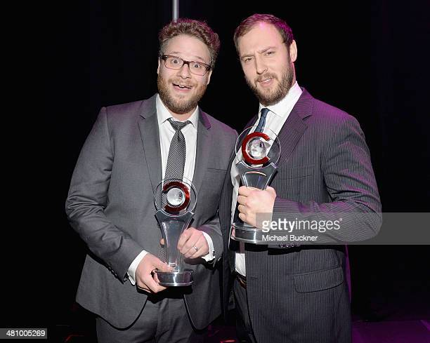 Comedy Filmmakers of the Year award winners Seth Rogen and Evan Goldberg attend The CinemaCon Big Screen Achievement Awards brought to you by The...