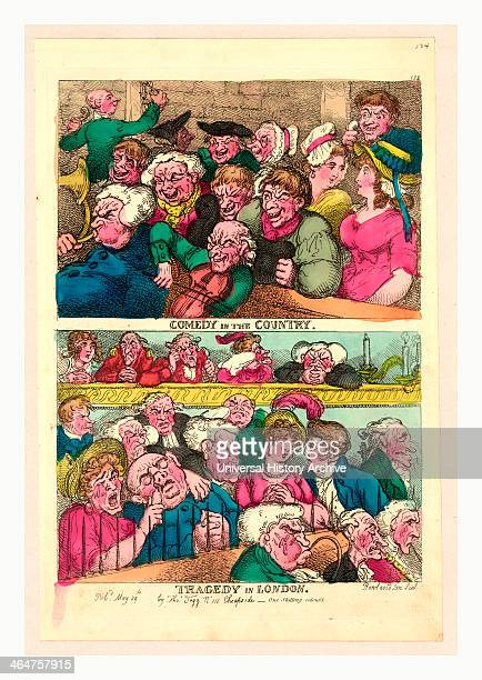 Comedy In The Country Tragedy In London Rowlandson Thomas 17561827 Engraving 1807 Two Designs On One Plate Above Two Rows Of Burlesqued Yokels Seated...