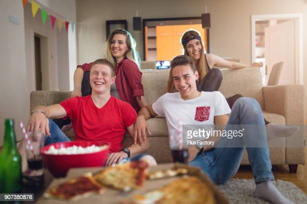 comedy movie with friends in free time - romance film stock photos and pictures
