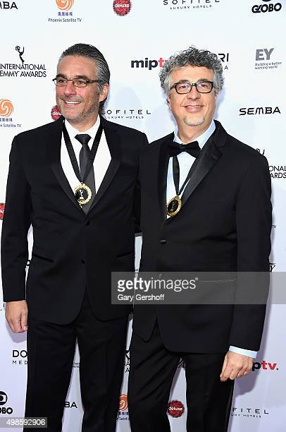 Comedy Nominees producers Jorge Stamadianos and Edgar Spielmann for Familia En Venta attend the 43rd International Emmy Awards on November 23, 2015...