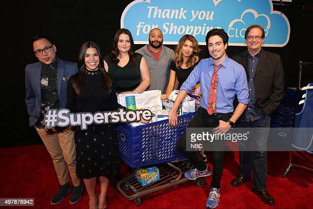 EVENTS 'NBC Comedy Press Junket' Pictured Nico Santos America Ferrera Lauren Ash Colton Dunn Nichole Bloom Ben Feldman Mark McKinney 'Superstore'