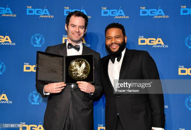 DGA Comedy Series Award winner for 'Barry' Bill Hader poses in the press room with Anthony Anderson during the 72nd Annual Directors Guild Of America...