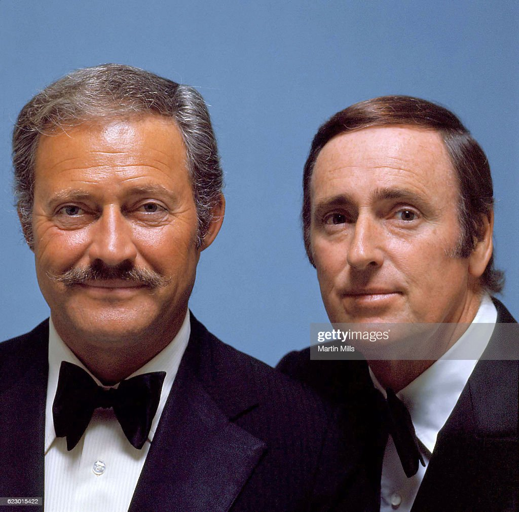 Comedy team and 'Laugh-In' stars Dan Rowan (1922-1987) and Dick Martin (1922-2008) pose for a portrait circa 1972 in Los Angeles, California.