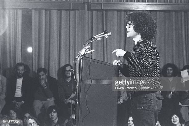 Comedy writer Al Franken speaks at a rally for Democratic presidential candidate Morris Udall during Udall's campaign for the 1976 Massachusetts...