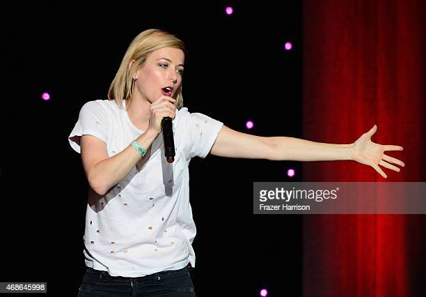 Comeidan Iliza Shlesinger performs at KROQ Presents Kevin Bean's April Foolishness at The Shrine Auditorium on April 4 2015 in Los Angeles California