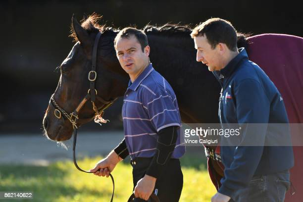 J Comerford Aidan O'Brien's travelling foreman is seen walking alongside The Taj Mahal after a trackwork session at Werribee Racecourse on October 17...