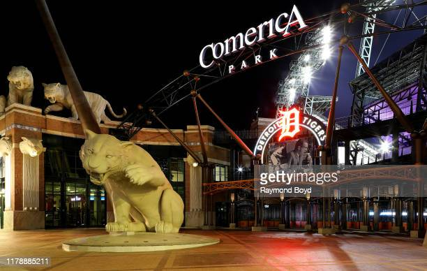 Comerica Park, home of the Detroit Tigers baseball team in Detroit, Michigan on September 26, 2019.