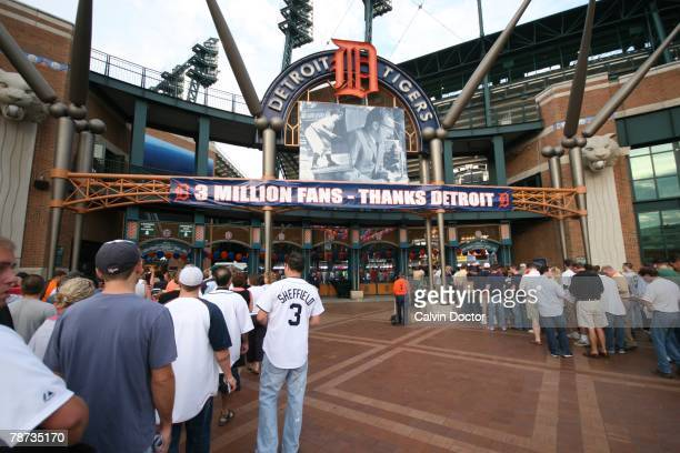 Comerica Park sign welcomes the three millionth fan of the season before the game against the Minnesota Twins at Comerica Park in Detroit Michigan on...