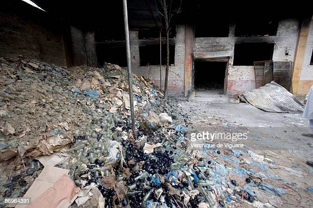 A comesptics factory that was destroyed by Taliban militants March 28 2009 in Mingora Swat Valley Pakistan