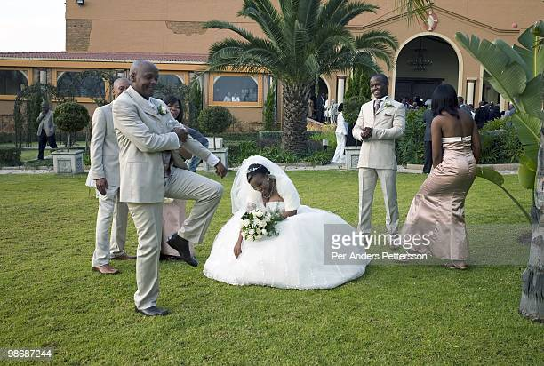 Comet and Phakalane Mmisi dance after they just got married in a white weeding on July 11 2008 at a Tuscan wedding village outside Johannesburg South...