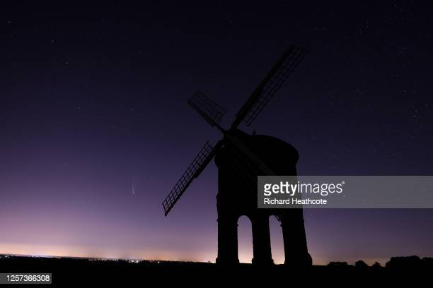 Comet C/2020 F3 Neowise is seen in the sky over Chesterton Windmill on July 22, 2020 in Chesterton, England.