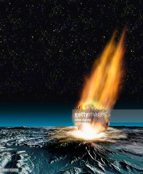 comet hitting planet - mike agliolo stock photos and pictures