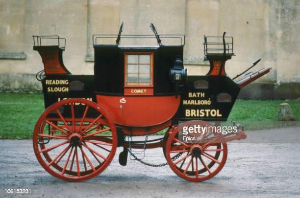 A Comet horsedrawn coach at the Dodington Carriage Museum circa 1970
