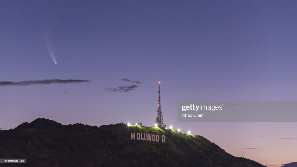 Comet NEOWISE above Hollywood : Stock Photo