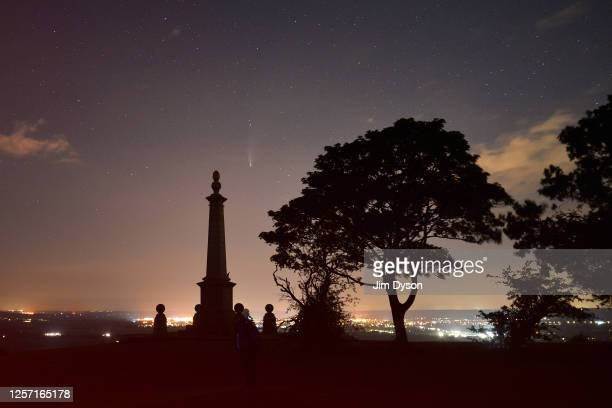 Comet NEOWISE also known as 'C/2020 F3' is visible above the Boer War monument at Coombe Hill on July 19 2020 in Aylesbury Buckinghamshire The comet...