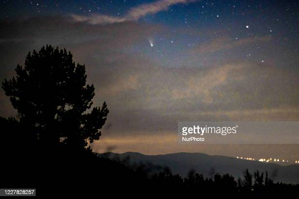 Comet NEOWISE as seen during the night from Olympus Mountain the mythical mountain in Ancient Greek culture, near Petrostrouga refuge at the trail...