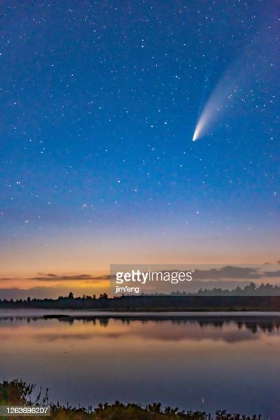 comet neowise in the dark night sky after sunset, torrance barrens dark-sky preserve, gravenhurst, canada - meteor stock pictures, royalty-free photos & images